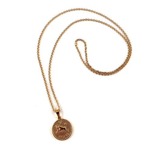 Aries Gold Zodiac Medallion Necklace 28