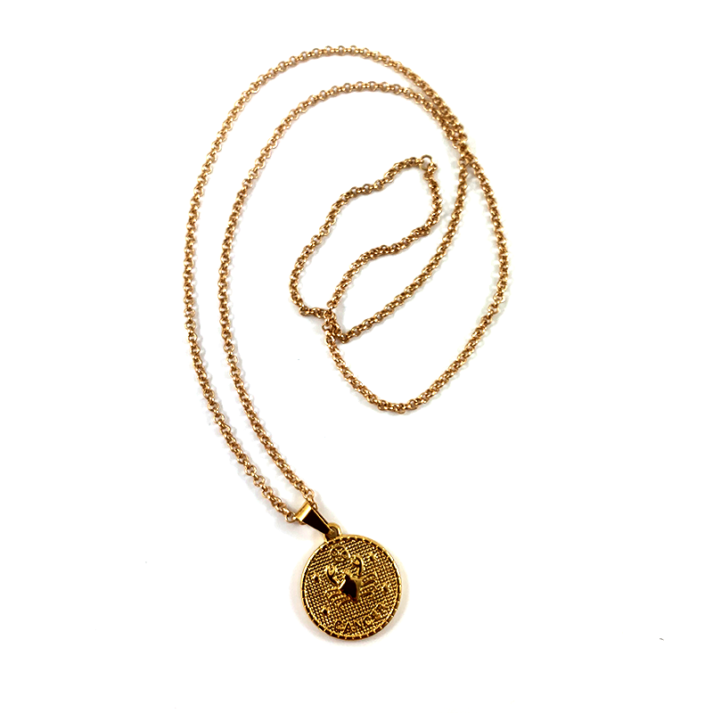 Cancer Gold Zodiac Medallion Necklace 28