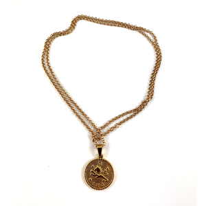 Leo Gold Zodiac Medallion Necklace 28""