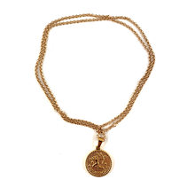 Sagittarius Gold Zodiac Medallion Necklace 28""