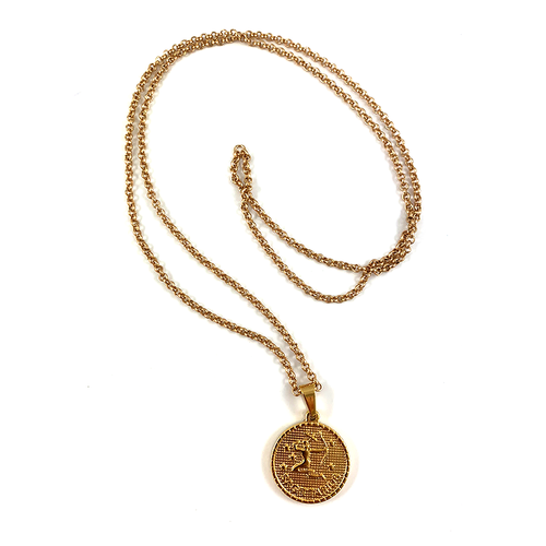 Sagittarius Gold Zodiac Medallion Necklace 28