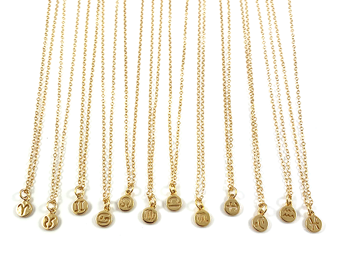 Delicate Gold Zodiac Pendant Necklaces 16