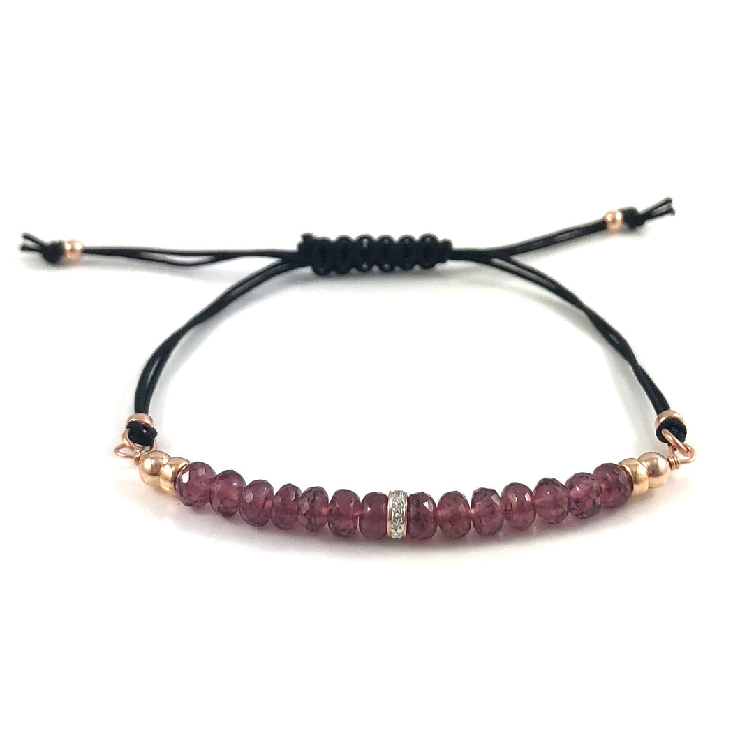 Handmade Garnet Diamond Adjustable Black Cord Bar Bracelet