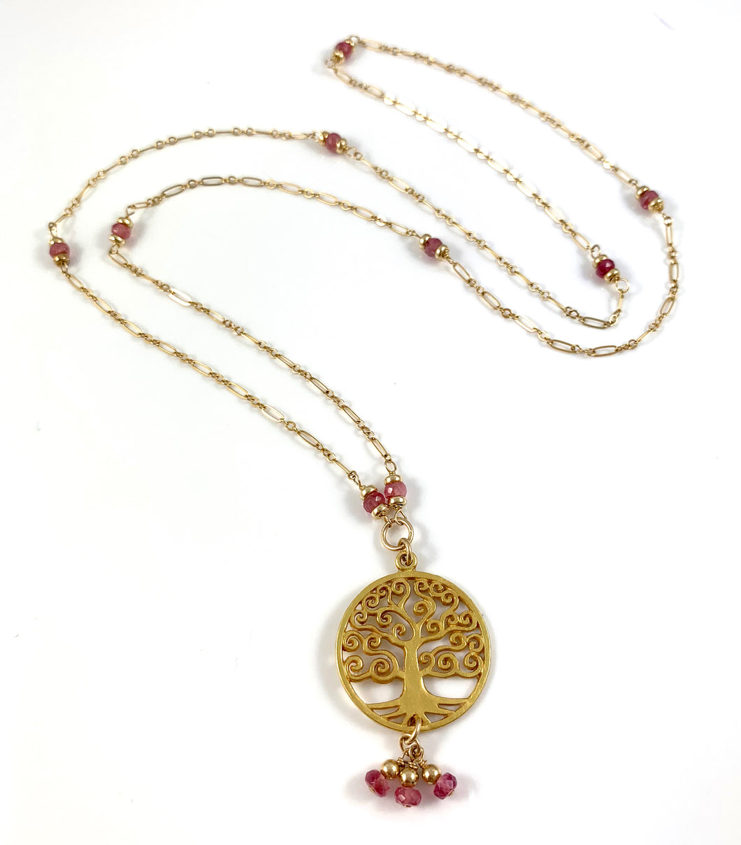 Lauren Libra Birthstone Pink Tourmaline Tree of Life Pendant Necklace 28