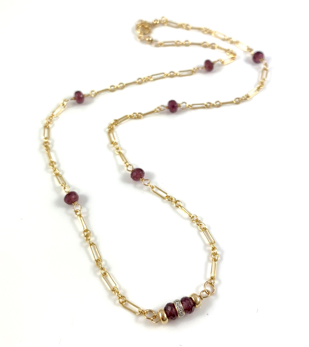 Jessica Capricorn Birthstone 14k Diamond Garnet Necklace 15