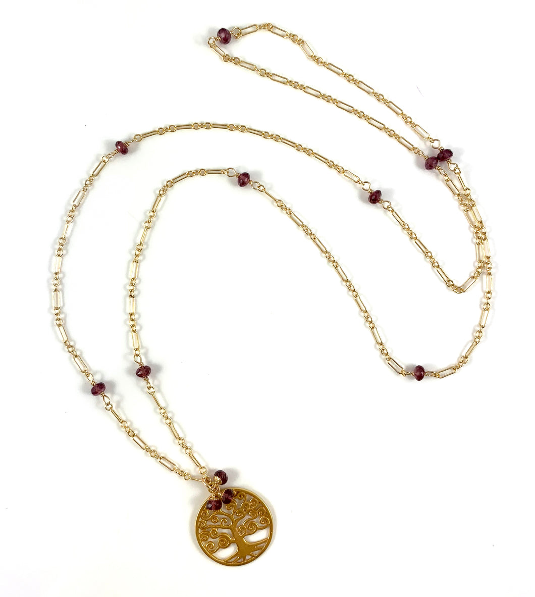 Capricorn Birthstone Handmade Garnet Delicate Gold Chain Tree of Life Pendant Necklace 28
