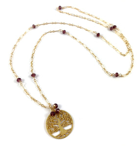 Capricorn Birthstone Handmade Garnet Delicate Gold Chain Tree of Life Pendant Necklace 28""