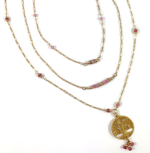 Lauren Libra Birthstone Pink Tourmaline Tree of Life Pendant Necklace 28""
