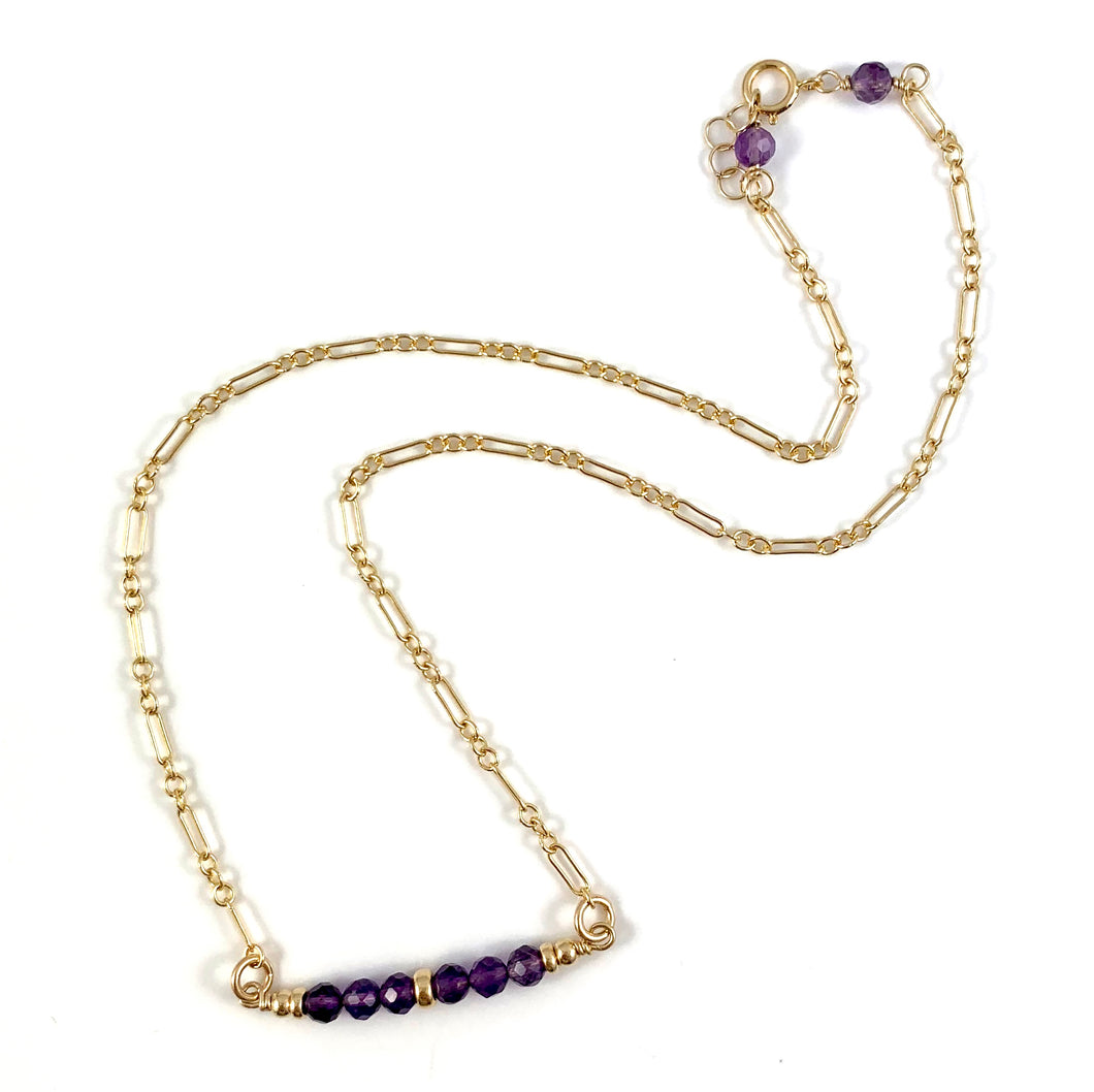 Ashley Amethyst Gemstone Bar Necklace 15