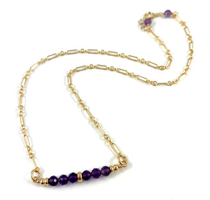 "Ashley Amethyst Gemstone Bar Necklace 15"" Aquarius Birthstone"