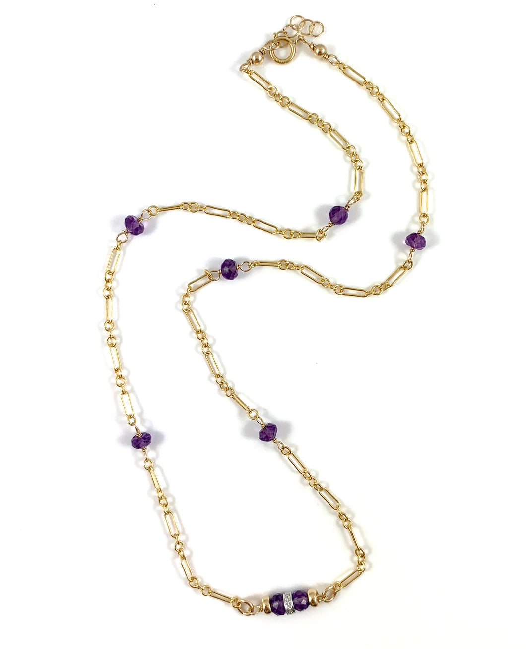Diamond Amethyst Gold Chain Necklace 15