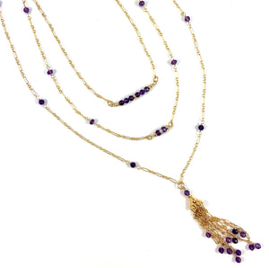 "Ashley Handmade Amethyst Gemstone Tassel Necklace 28"" Aquarius Birthstone"