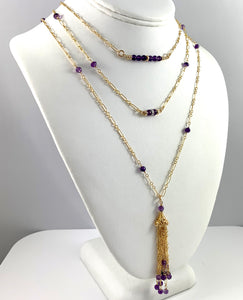 Diamond Amethyst Gold Chain Necklace 15""