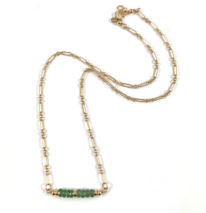 "Handmade Delicate Gold Chain Gemstone Bar Necklace 15"" Green Kyanite"