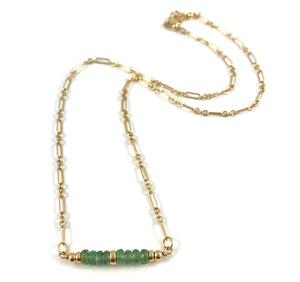 "Sarah Taurus Birthstone Bar Necklace 15"" Green Kyanite"