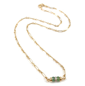 Handmade Delicate Gold Chain Necklace Green Kyanite Diamond 15""