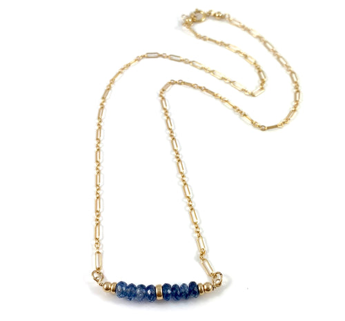 Emily Virgo Birthstone Kyanite Delicate Gold Gemstone Bar Necklace 15