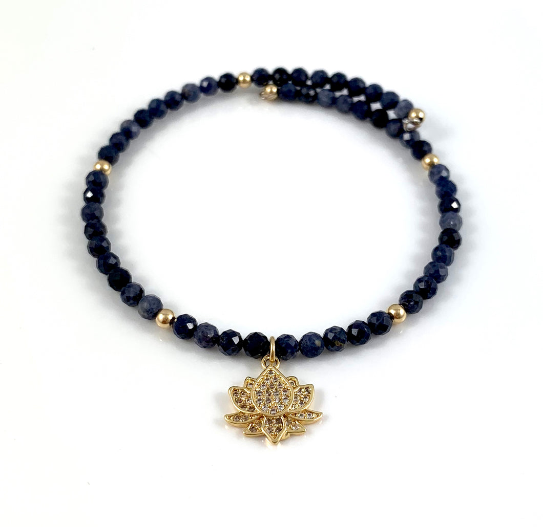 Sapphire Gold Cubic Zirconia Lotus Charm Bangle Bracelet