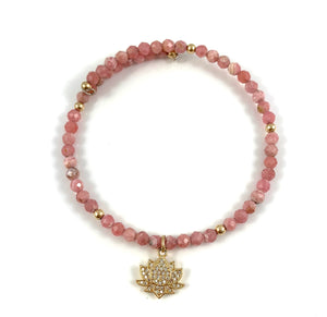 Rhodochrosite Gold Lotus Bangle Bracelet