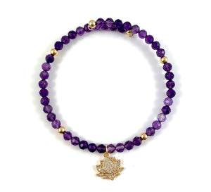 Ashley Amethyst Gold Lotus Bangle Bracelet Aquarius Birthstone
