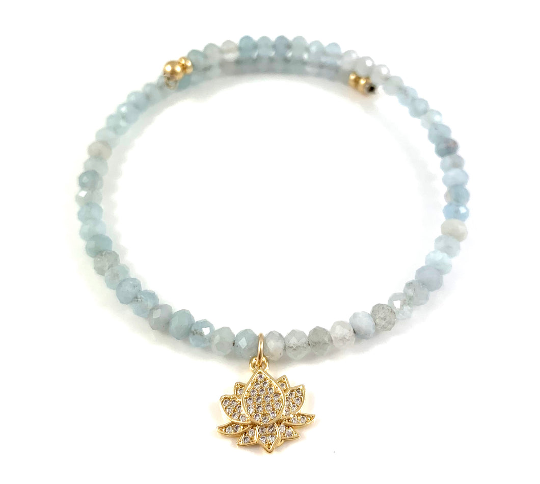 Aquamarine Gold Cubic Zirconia Lotus Charm Bangle Bracelet