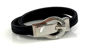 Black Italian Cord Silver Buckle Choker Necklace