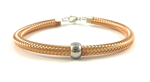 Rose Gold Italian Cord Bangle Bracelet