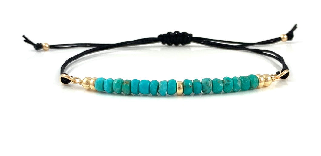Sagittarius Birthstone Handmade Turquoise Adjustable Black Cord Bar Bracelet