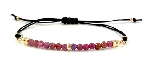 Cancer Birthstone Handmade Ruby Adjustable Black Cord Bar Bracelet