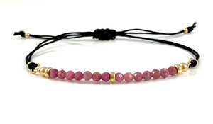 Libra Birthstone Handmade Tourmaline Gemstone Adjustable Black Cord Bar Bracelet