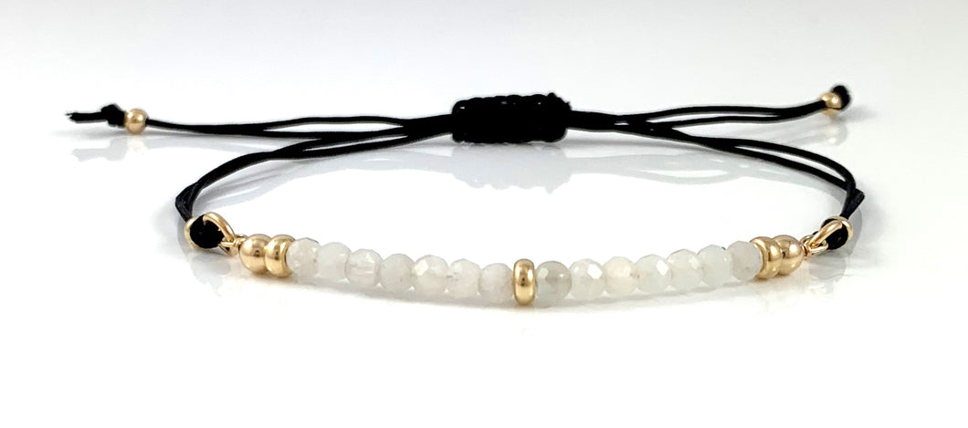 Gemini Birthstone Moonstone Adjustable Black Cord Bar Bracelet