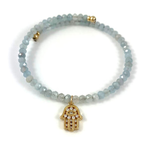 Aquamarine Gold Cubic Zirconia Hamsa Charm Bangle Bracelet