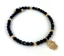 Libra Birthstone Black Tourmaline Hamsa Charm Bangle Bracelet