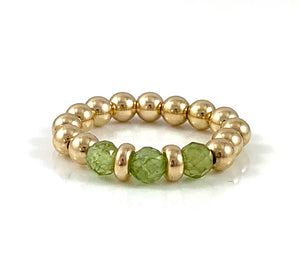 Leo Birthstone Peridot Gold Bead Stretch Ring