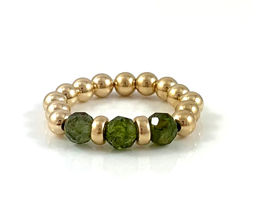 Taurus Birthstone Green Apatite Gold Bead Stretch Ring