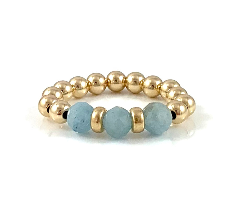 Pisces Birthstone Aquamarine Gold Bead Stretch Ring