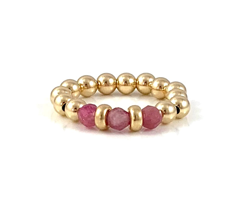Libra Birthstone Pink Tourmaline Gold Bead Stretch Ring