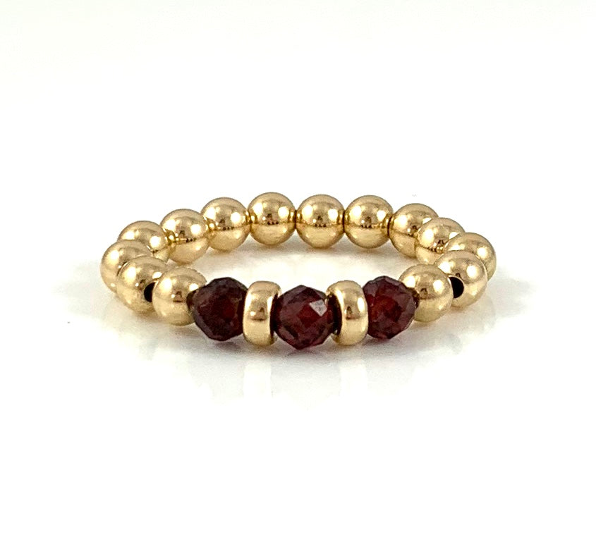 Jessica Garnet Gold Bead Stretch Ring Capricorn Birthstone