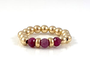 Amber Ruby Gold Bead Stretch Ring Cancer Birthstone