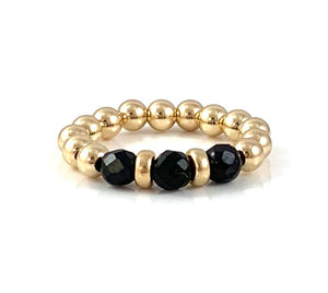 Lauren Black Tourmaline Gold Bead Stretch Ring Libra Birthstone