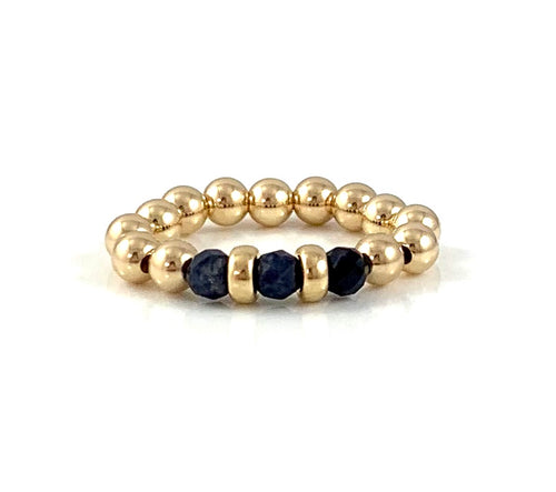 Virgo Birthstone Sapphire Gold Bead Stretch Ring