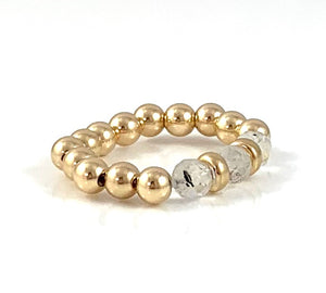 Amanda Moonstone Gold Bead Stretch Ring Gemini Birthstone