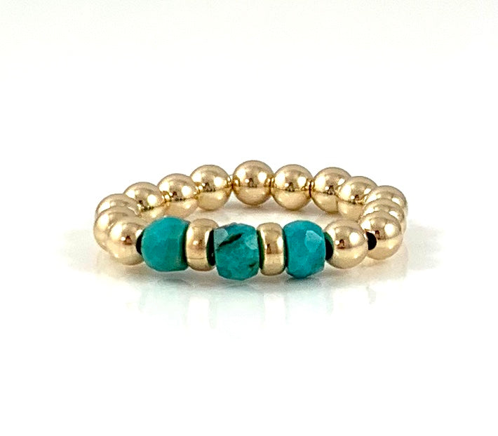 Sagittarius Birthstone Turquoise Gold Bead Stretch Ring