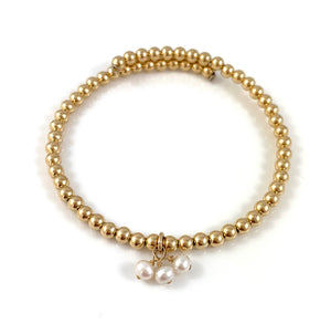 Gold Bead Bangle Pearl Charms
