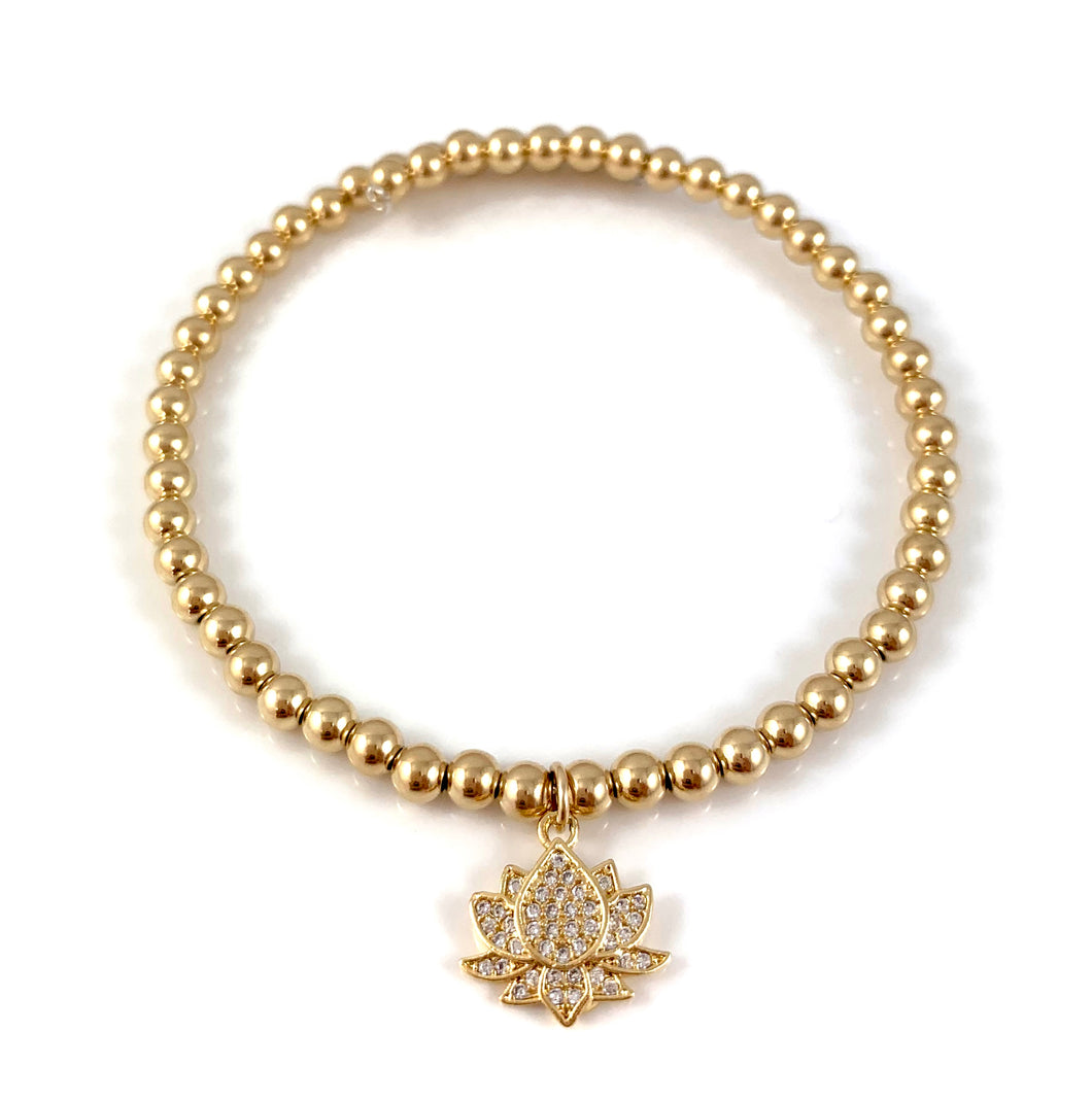 Gold Bead Lotus Charm Bangle Bracelet