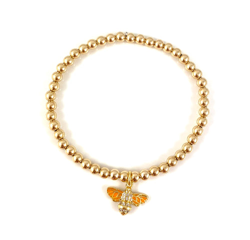 Gold Bead Stretch Bracelet Bee Charm