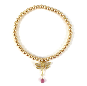 Gold Bead Stretch Bracelet Dragonfly Charm