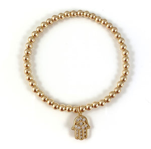Gold Bead Stretch Bracelet Hamsa Charm