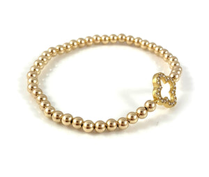 Gold Bead Stretch Bracelet Clover Link