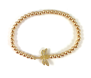 Gold Bead Stretch Bracelet Dragonfly Link